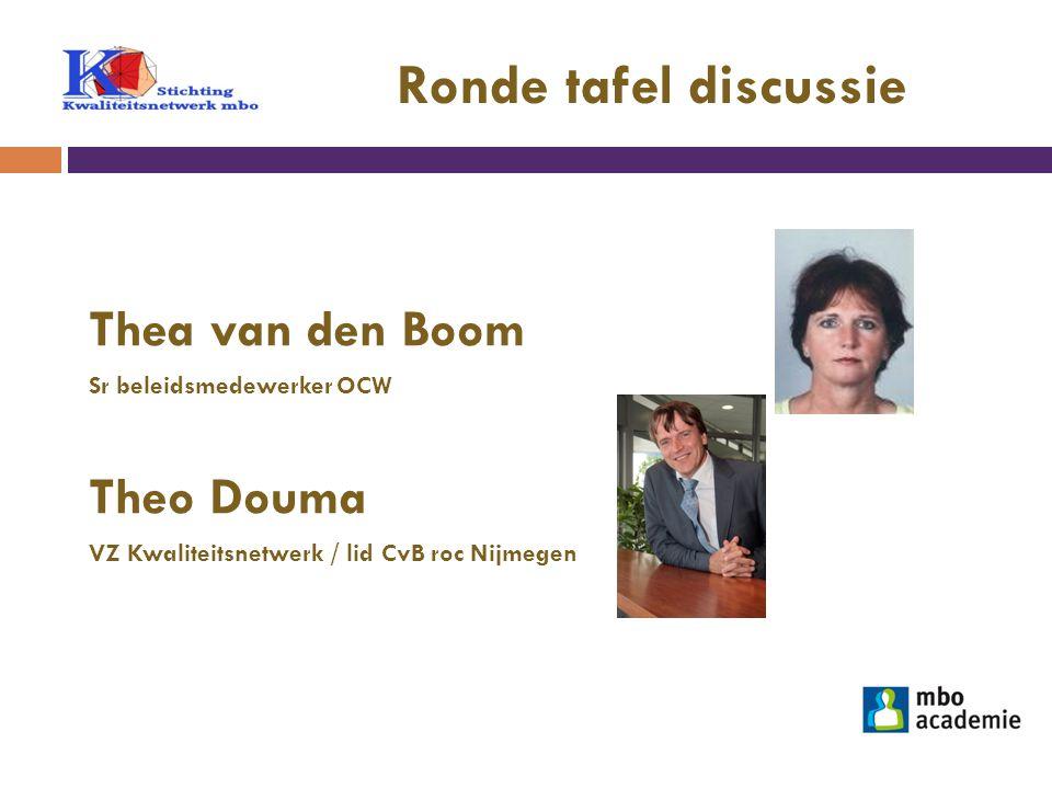 Ronde tafel discussie Thea van den Boom Sr beleidsmedewerker OCW Theo Douma VZ Kwaliteitsnetwerk / lid CvB roc Nijmegen