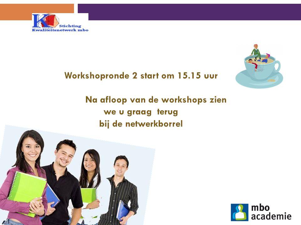 Workshopronde 2 start om 15.15 uur Na afloop van de workshops zien we u graag terug bij de netwerkborrel