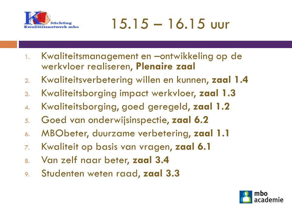 15.15 – 16.15 uur 1. Kwaliteitsmanagement en –ontwikkeling op de werkvloer realiseren, Plenaire zaal 2. Kwaliteitsverbetering willen en kunnen, zaal 1