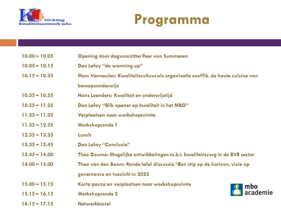 """Programma 10.00 – 10.05 Opening door dagvoorzitter Peer van Summeren 10.05 – 10.15 Dan Lefay """"de warming up"""" 10.15 – 10.35 Marc Vermeulen: Kwaliteitsc"""