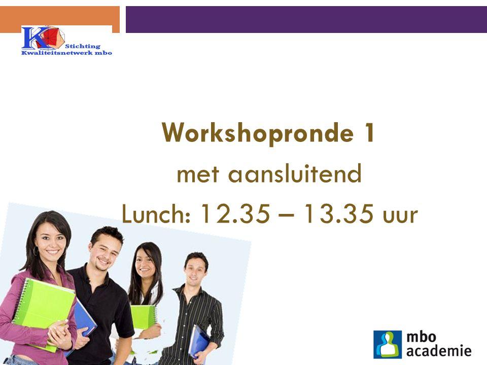 Workshopronde 1 met aansluitend Lunch: 12.35 – 13.35 uur
