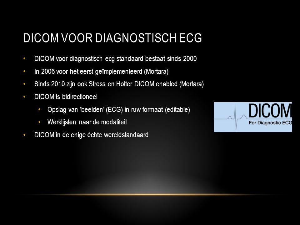 DICOM VOOR DIAGNOSTISCH ECG • DICOM voor diagnostisch ecg standaard bestaat sinds 2000 • In 2006 voor het eerst geïmplementeerd (Mortara) • Sinds 2010 zijn ook Stress en Holter DICOM enabled (Mortara) • DICOM is bidirectioneel • Opslag van 'beelden' (ECG) in ruw formaat (editable) • Werklijsten naar de modaliteit • DICOM in de enige échte wereldstandaard
