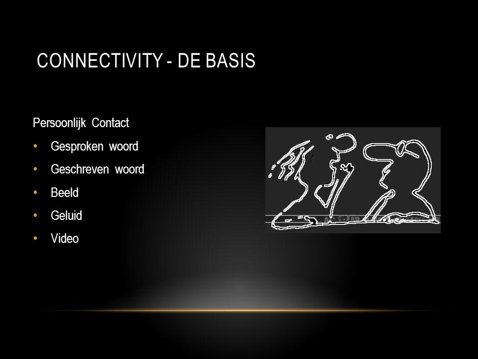CONNECTIVITY - DE BASIS Persoonlijk Contact • Gesproken woord • Geschreven woord • Beeld • Geluid • Video