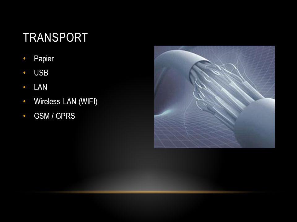 TRANSPORT • Papier • USB • LAN • Wireless LAN (WIFI) • GSM / GPRS