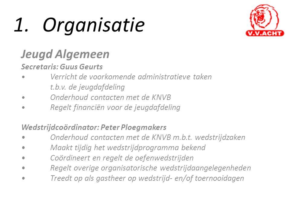 1.Organisatie Jeugd Algemeen Secretaris: Guus Geurts • Verricht de voorkomende administratieve taken t.b.v. de jeugdafdeling • Onderhoud contacten met