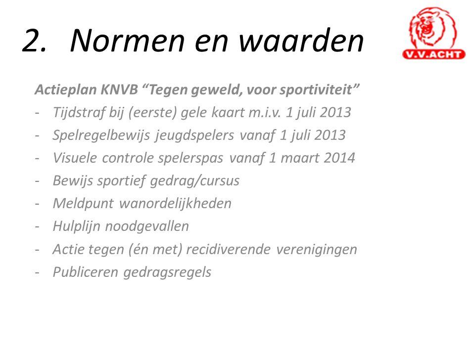 """2.Normen en waarden Actieplan KNVB """"Tegen geweld, voor sportiviteit"""" -Tijdstraf bij (eerste) gele kaart m.i.v. 1 juli 2013 -Spelregelbewijs jeugdspele"""