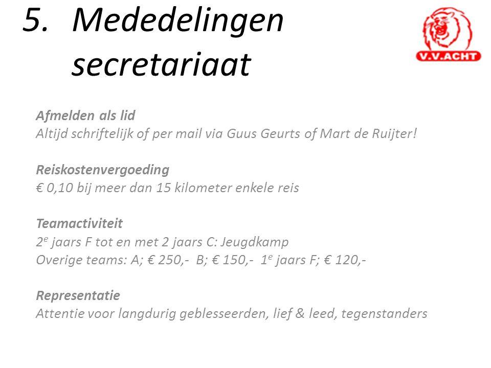 5.Mededelingen secretariaat Afmelden als lid Altijd schriftelijk of per mail via Guus Geurts of Mart de Ruijter! Reiskostenvergoeding € 0,10 bij meer