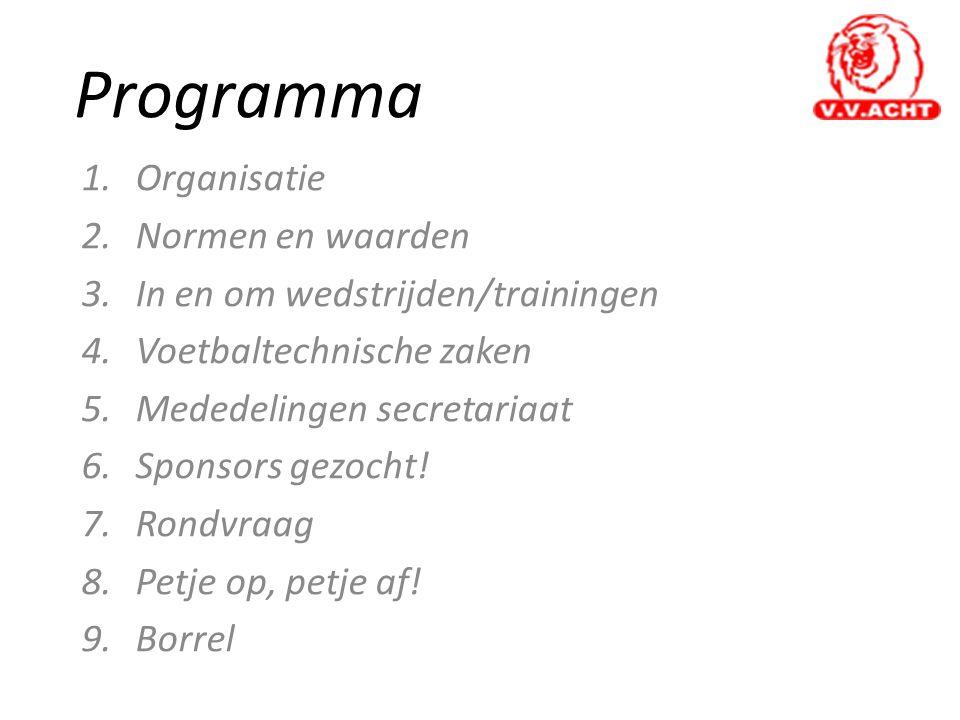 Programma 1.Organisatie 2.Normen en waarden 3.In en om wedstrijden/trainingen 4.Voetbaltechnische zaken 5.Mededelingen secretariaat 6.Sponsors gezocht.