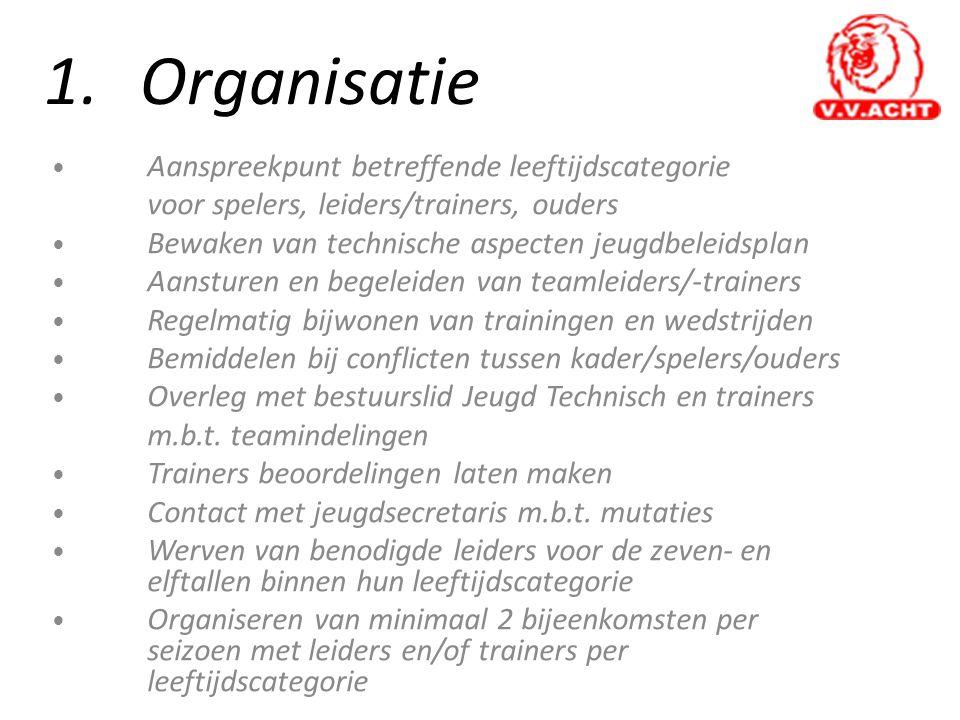 1.Organisatie • Aanspreekpunt betreffende leeftijdscategorie voor spelers, leiders/trainers, ouders • Bewaken van technische aspecten jeugdbeleidsplan