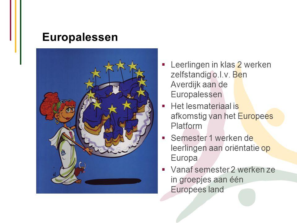Europalessen  Leerlingen in klas 2 werken zelfstandig o.l.v.