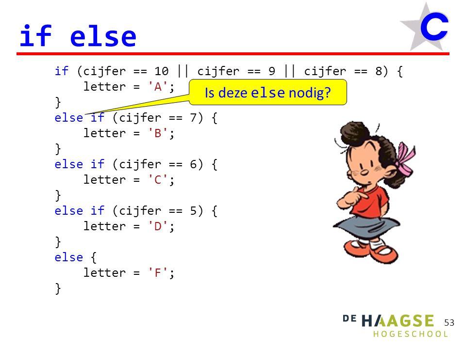 53 if else if (cijfer == 10 || cijfer == 9 || cijfer == 8) { letter = 'A'; } else if (cijfer == 7) { letter = 'B'; } else if (cijfer == 6) { letter =