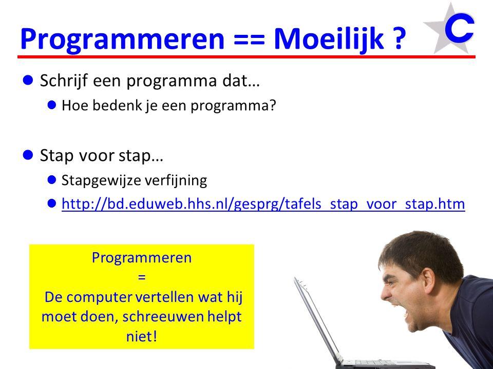  Schrijf een programma dat…  Hoe bedenk je een programma?  Stap voor stap…  Stapgewijze verfijning  http://bd.eduweb.hhs.nl/gesprg/tafels_stap_vo