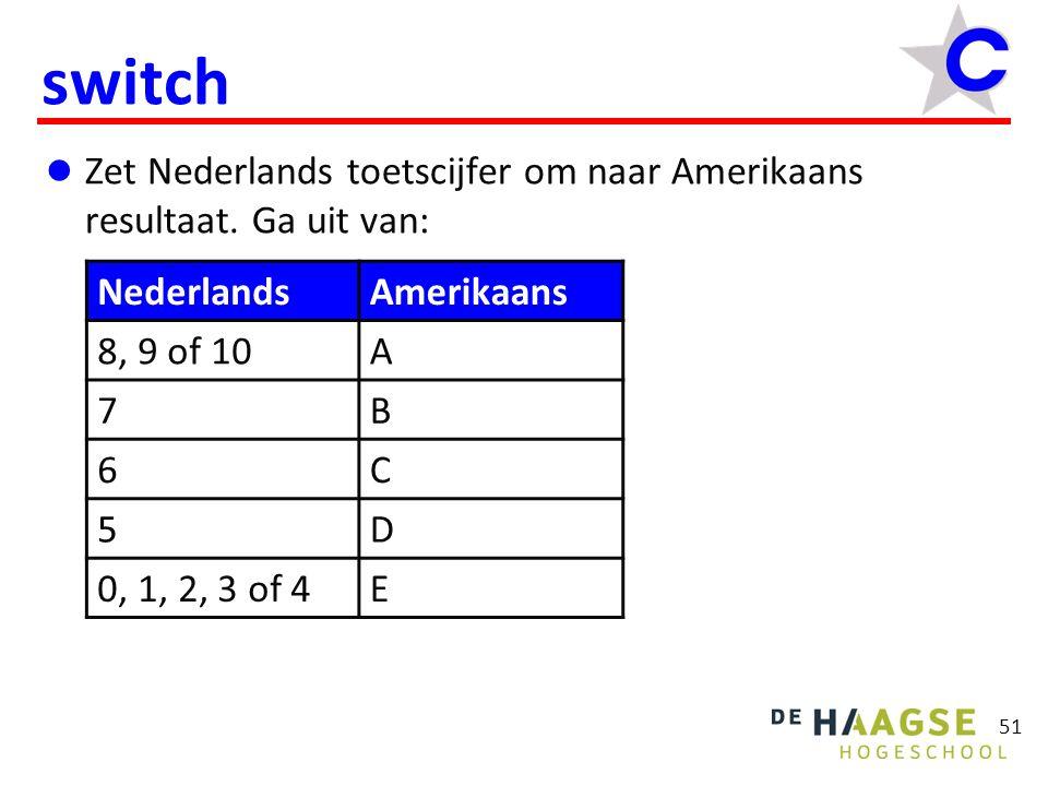 51 switch  Zet Nederlands toetscijfer om naar Amerikaans resultaat. Ga uit van: NederlandsAmerikaans 8, 9 of 10A 7B 6C 5D 0, 1, 2, 3 of 4E