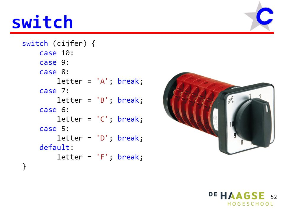 52 switch switch (cijfer) { case 10: case 9: case 8: letter = 'A'; break; case 7: letter = 'B'; break; case 6: letter = 'C'; break; case 5: letter = '