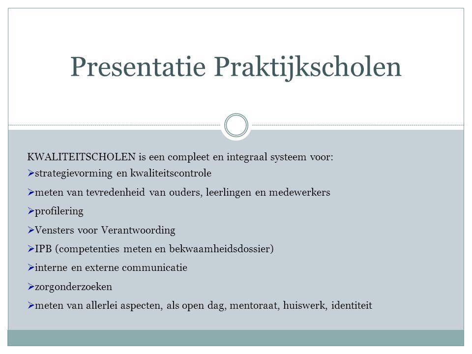 Presentatie Praktijkscholen KWALITEITSCHOLEN is een compleet en integraal systeem voor:  strategievorming en kwaliteitscontrole  meten van tevredenh