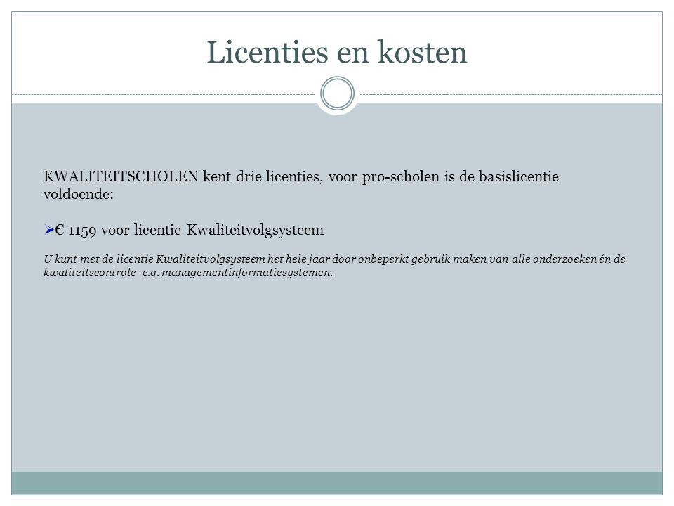 Licenties en kosten KWALITEITSCHOLEN kent drie licenties, voor pro-scholen is de basislicentie voldoende:  € 1159 voor licentie Kwaliteitvolgsysteem
