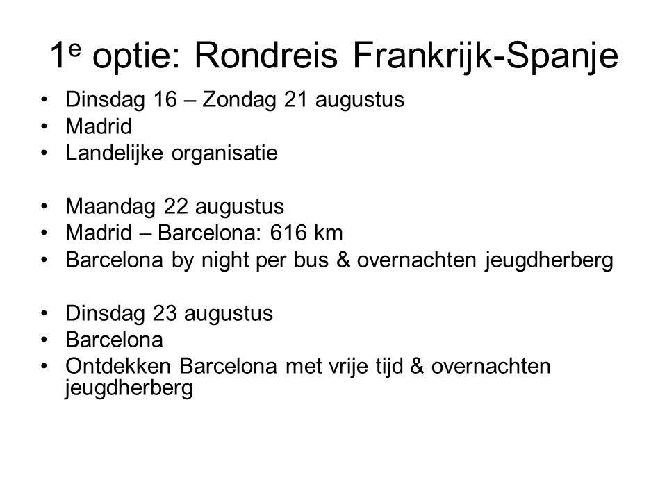1 e optie: Rondreis Frankrijk-Spanje •Dinsdag 16 – Zondag 21 augustus •Madrid •Landelijke organisatie •Maandag 22 augustus •Madrid – Barcelona: 616 km