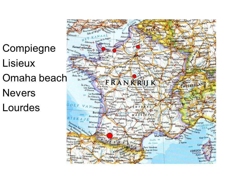 Compiegne Lisieux Omaha beach Nevers Lourdes