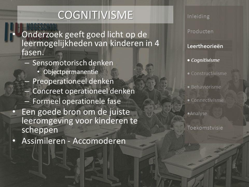 Inleiding Producten Leertheorieën  Cognitivisme  Constructivisme  Behaviorisme  Connectivisme  Analyse ToekomstvisieCONSTRUCTIVISME Kennis fundament ErvaringErvaring toelichting Kennis fundament Zone van de naaste ontwikkeling (Vygotski)