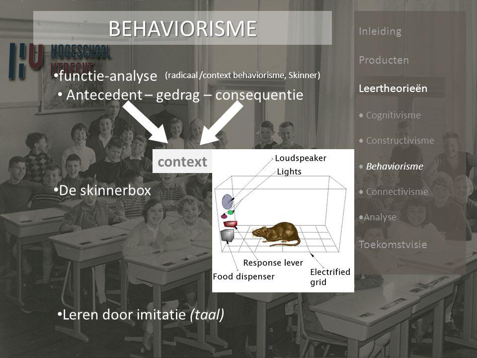 Inleiding Producten Leertheorieën  Cognitivisme  Constructivisme  Behaviorisme  Connectivisme  Analyse ToekomstvisieConnectivisme Leren is een proces van connecties vormen (neural & external).