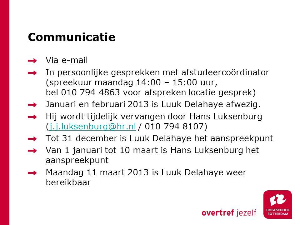 Communicatie Via e-mail In persoonlijke gesprekken met afstudeercoördinator (spreekuur maandag 14:00 – 15:00 uur, bel 010 794 4863 voor afspreken loca