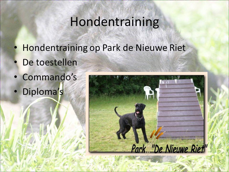 Hondentraining • Hondentraining op Park de Nieuwe Riet • De toestellen • Commando's • Diploma's