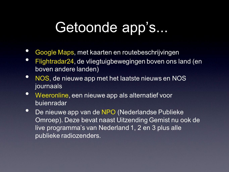 Getoonde app's...