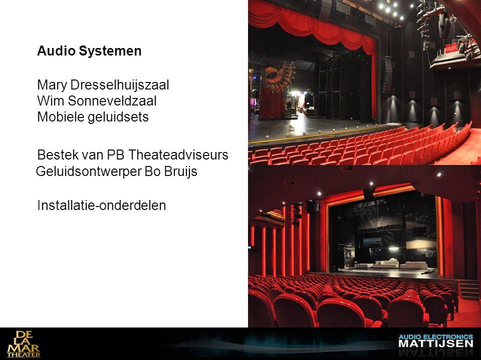 Audio Systemen Mary Dresselhuijszaal Wim Sonneveldzaal Mobiele geluidsets Bestek van PB Theateadviseurs Geluidsontwerper Bo Bruijs Installatie-onderdelen