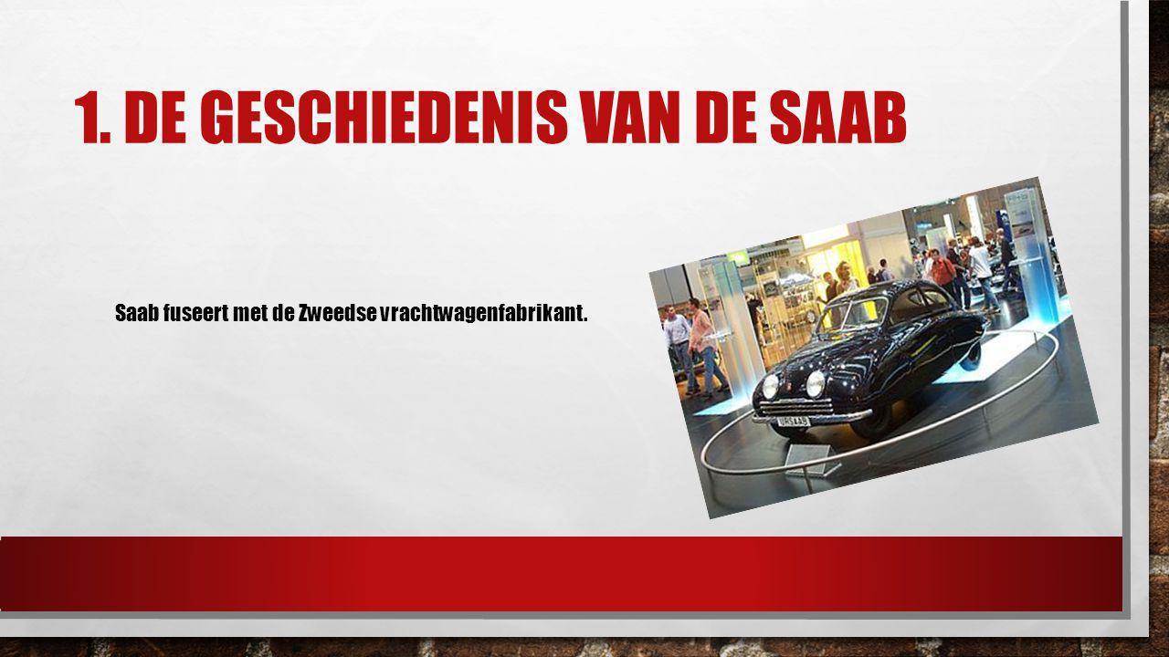 1. DE GESCHIEDENIS VAN DE SAAB Saab fuseert met de Zweedse vrachtwagenfabrikant.