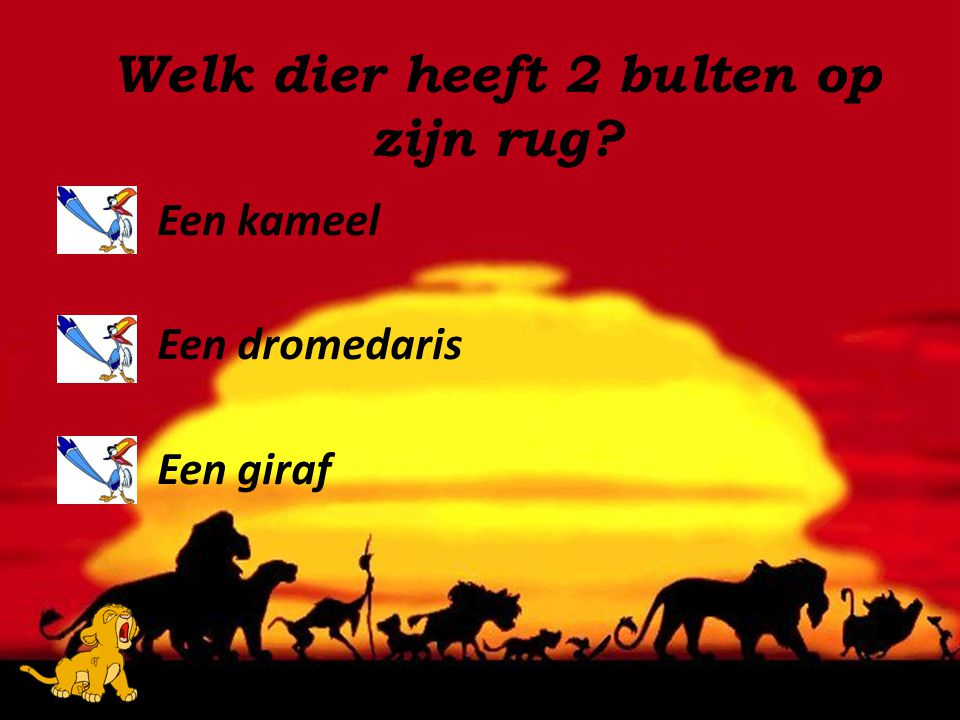 Een kameel Een dromedaris Een giraf Welk dier heeft 2 bulten op zijn rug?