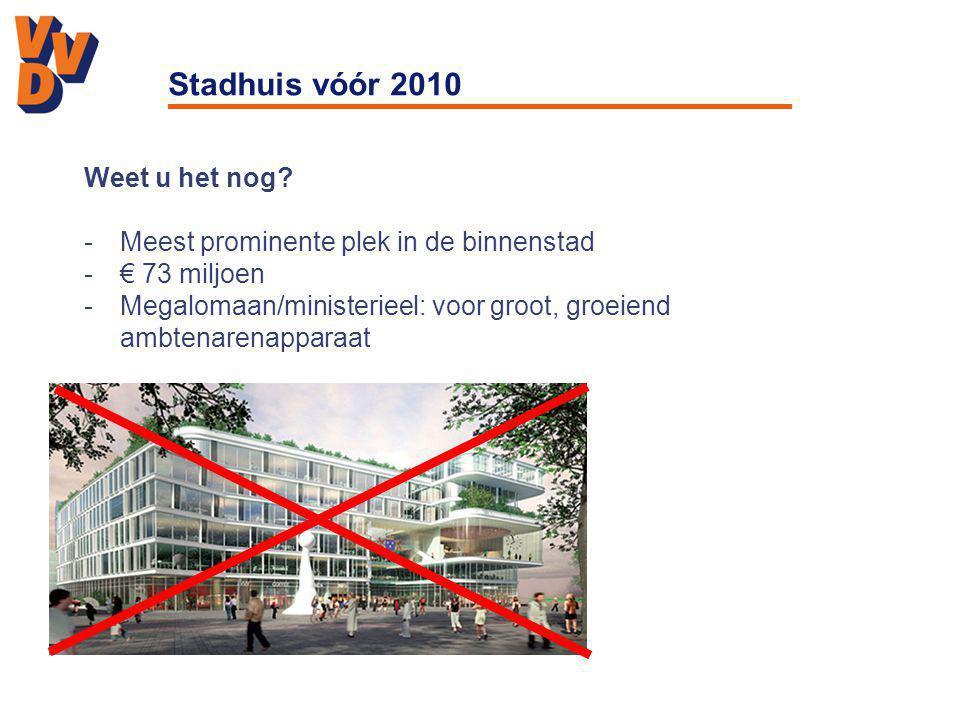 Stadhuis vóór 2010 Weet u het nog? -Meest prominente plek in de binnenstad -€ 73 miljoen -Megalomaan/ministerieel: voor groot, groeiend ambtenarenappa