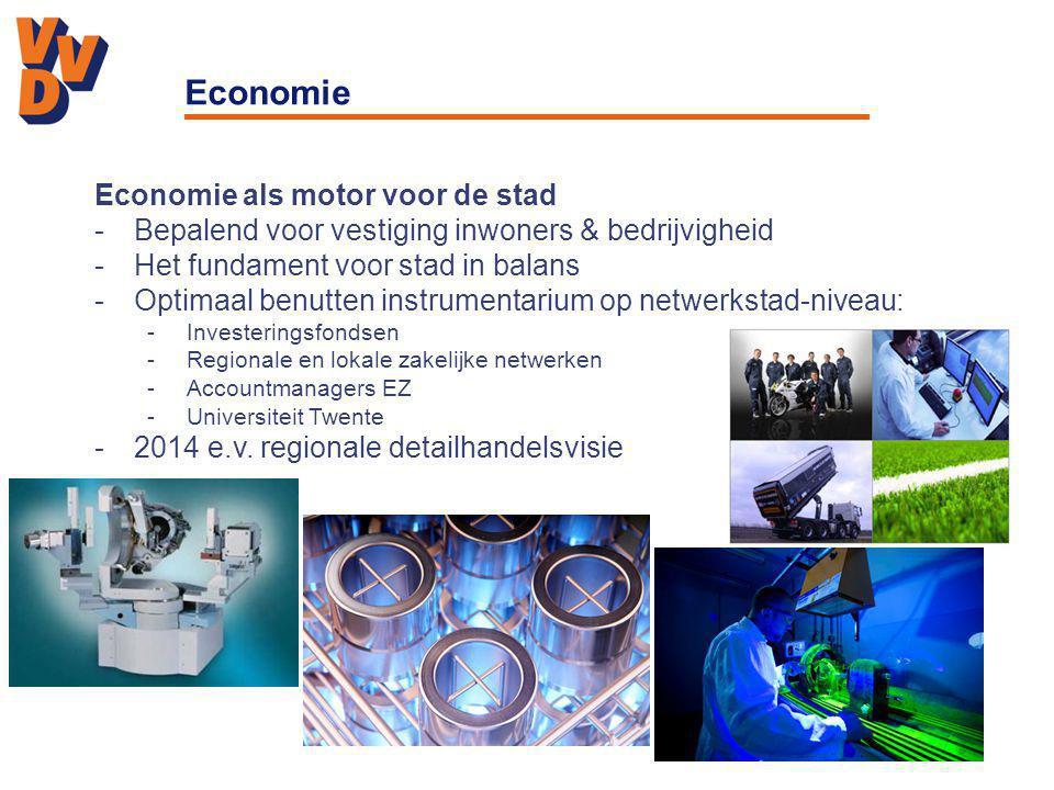 Economie Economie als motor voor de stad -Bepalend voor vestiging inwoners & bedrijvigheid -Het fundament voor stad in balans -Optimaal benutten instrumentarium op netwerkstad-niveau: -Investeringsfondsen -Regionale en lokale zakelijke netwerken -Accountmanagers EZ -Universiteit Twente -2014 e.v.