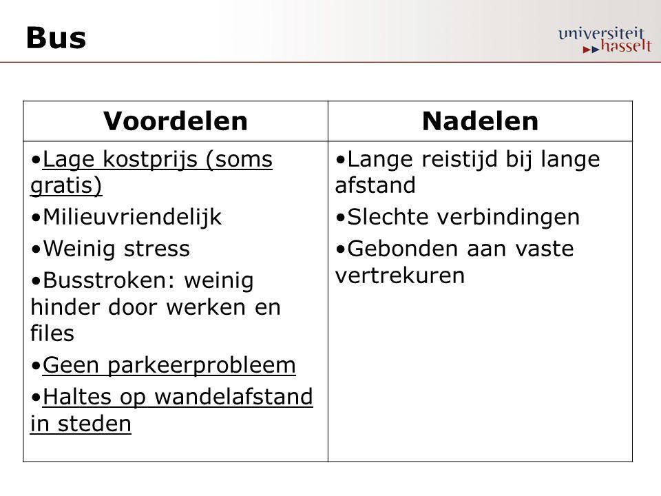 Bus VoordelenNadelen •Lage kostprijs (soms gratis) •Milieuvriendelijk •Weinig stress •Busstroken: weinig hinder door werken en files •Geen parkeerprob