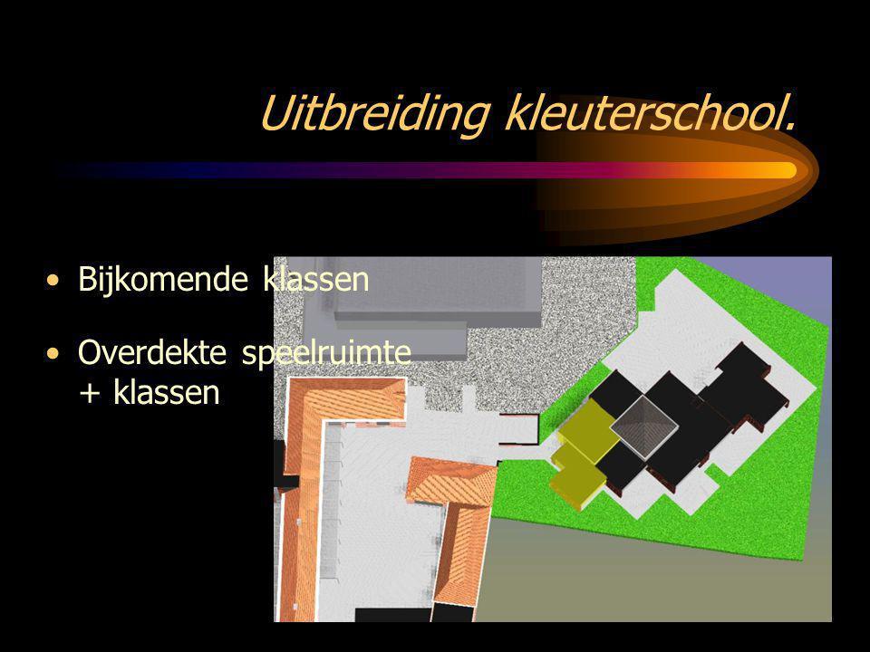Uitbreiding kleuterschool. •Overdekte speelruimte + klassen •Bijkomende klassen