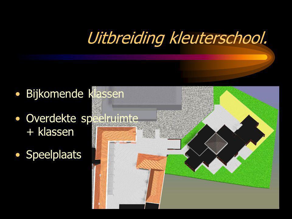 Uitbreiding kleuterschool. •Speelplaats •Overdekte speelruimte + klassen •Bijkomende klassen