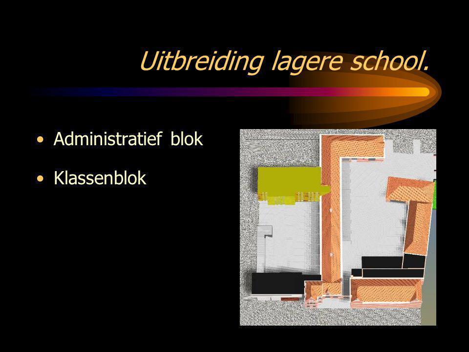 Uitbreiding lagere school. •Administratief blok •Klassenblok •Fietsenberging