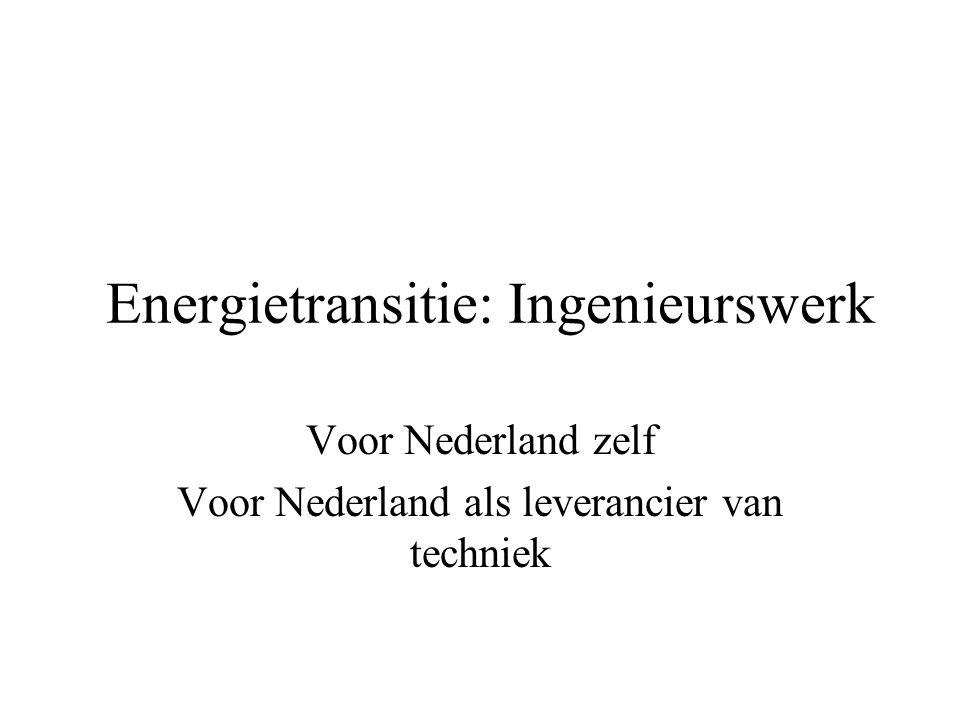 Energietransitie: Ingenieurswerk Voor Nederland zelf Voor Nederland als leverancier van techniek