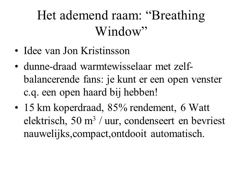 Het ademend raam: Breathing Window •Idee van Jon Kristinsson •dunne-draad warmtewisselaar met zelf- balancerende fans: je kunt er een open venster c.q.