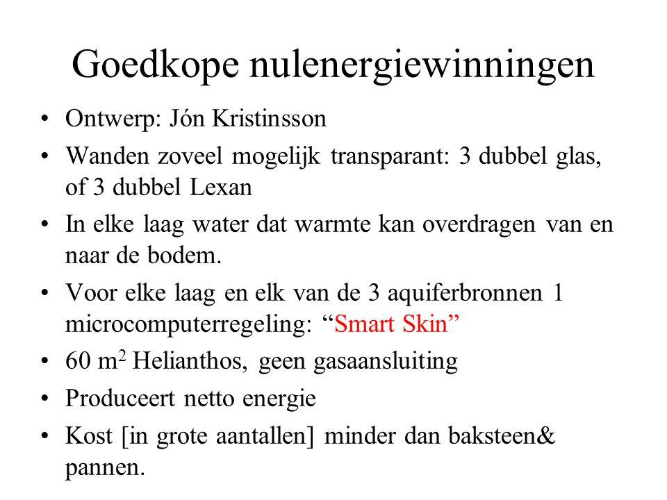 Goedkope nulenergiewinningen •Ontwerp: Jón Kristinsson •Wanden zoveel mogelijk transparant: 3 dubbel glas, of 3 dubbel Lexan •In elke laag water dat warmte kan overdragen van en naar de bodem.