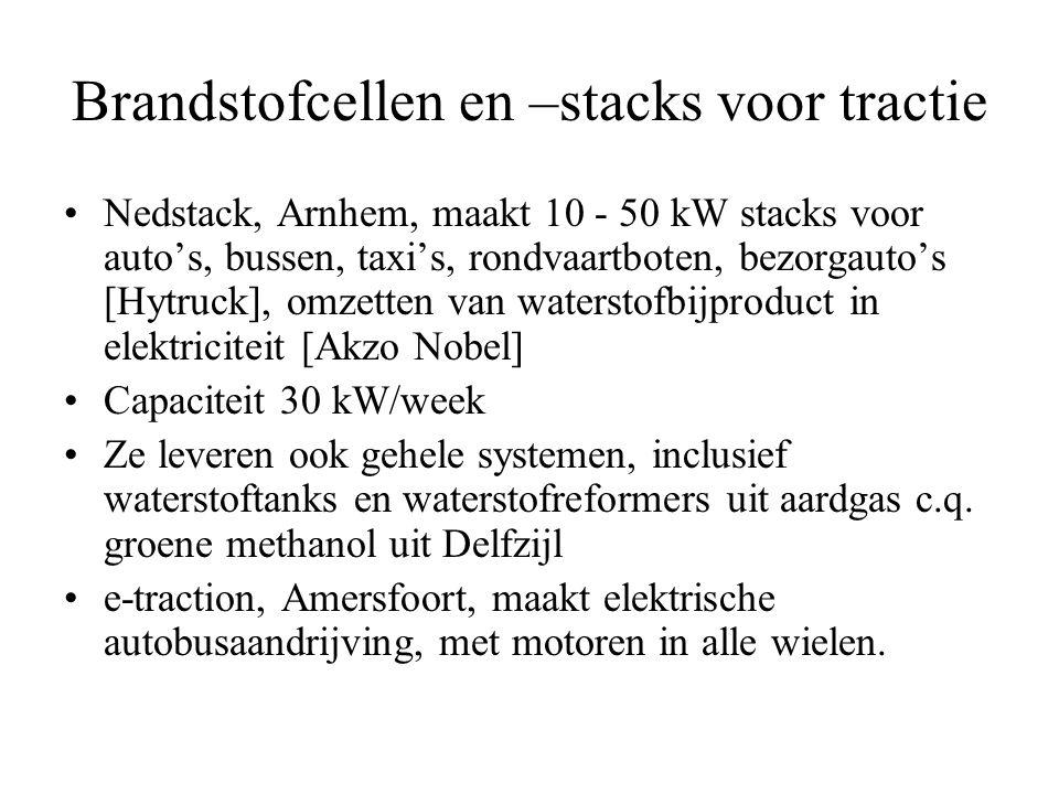 Brandstofcellen en –stacks voor tractie •Nedstack, Arnhem, maakt 10 - 50 kW stacks voor auto's, bussen, taxi's, rondvaartboten, bezorgauto's [Hytruck], omzetten van waterstofbijproduct in elektriciteit [Akzo Nobel] •Capaciteit 30 kW/week •Ze leveren ook gehele systemen, inclusief waterstoftanks en waterstofreformers uit aardgas c.q.