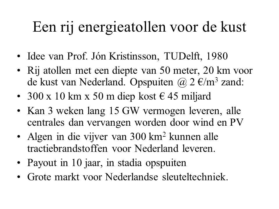 Een rij energieatollen voor de kust •Idee van Prof.