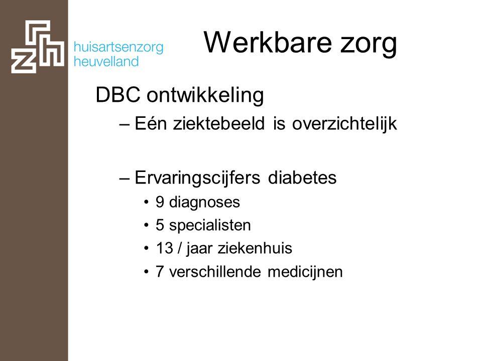 Werkbare zorg DBC ontwikkeling –Eén ziektebeeld is overzichtelijk –Ervaringscijfers diabetes •9 diagnoses •5 specialisten •13 / jaar ziekenhuis •7 ver