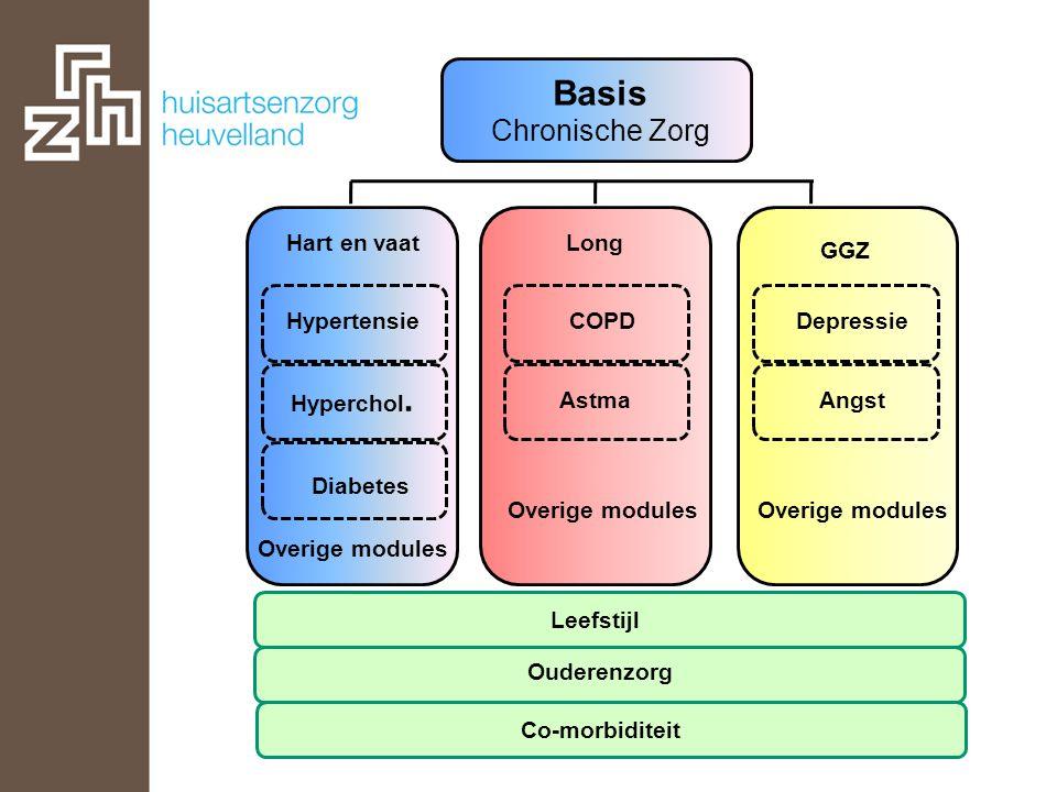 Basis Chronische Zorg Hyperchol. Hypertensie Hart en vaat Diabetes Overige modules COPD Astma Long Overige modules Angst Depressie GGZ Leefstijl Ouder