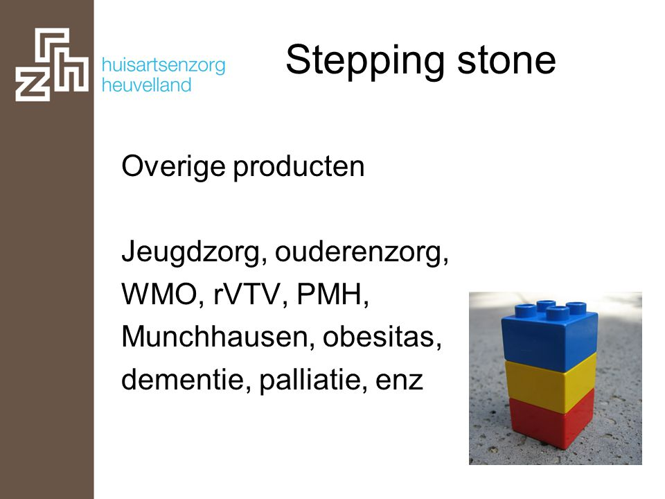 Stepping stone Overige producten Jeugdzorg, ouderenzorg, WMO, rVTV, PMH, Munchhausen, obesitas, dementie, palliatie, enz