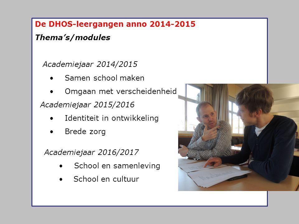 De DHOS-leergangen anno 2014-2015 Thema's/modules Academiejaar 2014/2015 • Samen school maken • Omgaan met verscheidenheid Academiejaar 2015/2016 • Id