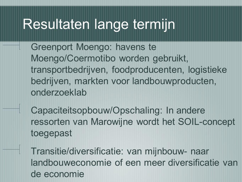 Resultaten lange termijn Greenport Moengo: havens te Moengo/Coermotibo worden gebruikt, transportbedrijven, foodproducenten, logistieke bedrijven, mar