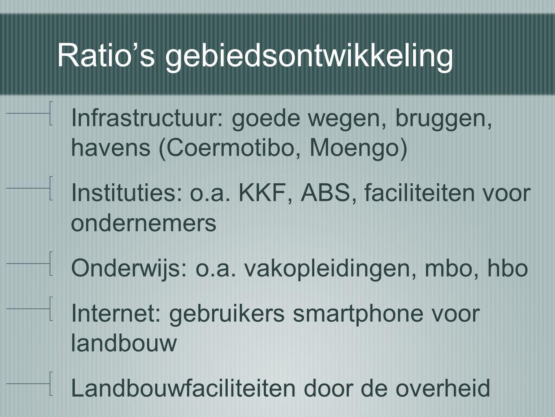 Ratio's gebiedsontwikkeling Infrastructuur: goede wegen, bruggen, havens (Coermotibo, Moengo) Instituties: o.a. KKF, ABS, faciliteiten voor ondernemer