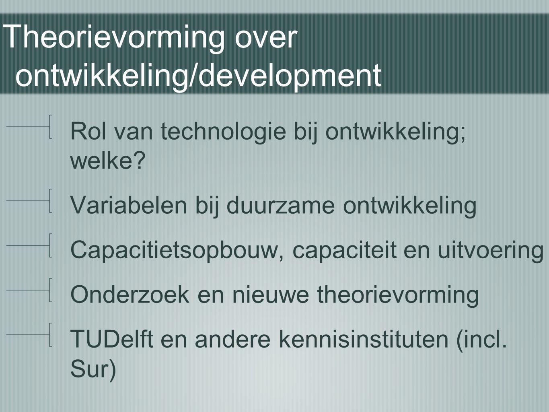 Theorievorming over ontwikkeling/development Rol van technologie bij ontwikkeling; welke? Variabelen bij duurzame ontwikkeling Capacitietsopbouw, capa