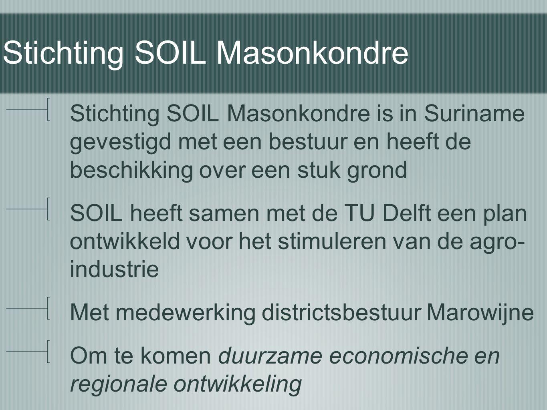 Stichting SOIL Masonkondre Stichting SOIL Masonkondre is in Suriname gevestigd met een bestuur en heeft de beschikking over een stuk grond SOIL heeft