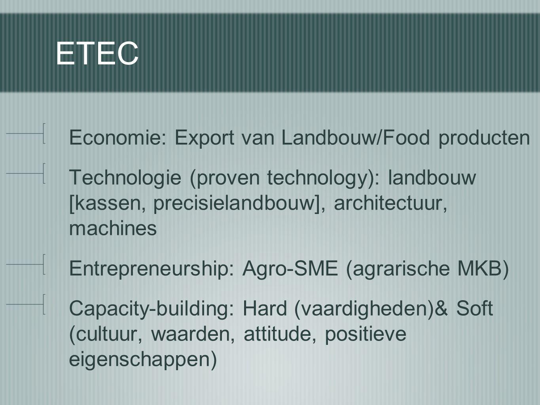 ETEC Economie: Export van Landbouw/Food producten Technologie (proven technology): landbouw [kassen, precisielandbouw], architectuur, machines Entrepr